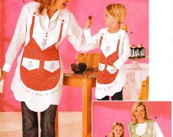 Simplicity 4344 Apron Sewing Pattern -  Mother & Daughter Bib Aprons - All Sizes Pattern