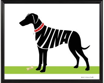 Personalized Doberman Pinscher Silhouette Print, Framed Cropped or Natural Ears, Natural or Docked Tail