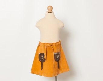 vintage toddler girl's suede mini skirt with fringe