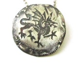 Unisex Dragon Coin Necklace.Silver Coin Pendant.Coin Replica.Vintage Style.Recycled Metal.Dragon symbol.Eco jewelry.Unisex Jewelry.Gift Idea