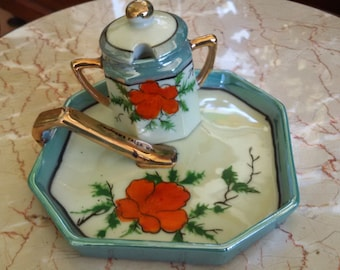 Vintage Japan Lustreware Poppy Jam Jar and Tray, Souvenir Piece Chippewa Falls, Wisconsin