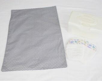 Grey Chevron Waterproof Changing Pad - two-tone grey - large