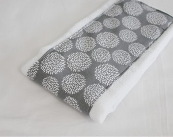 Grey and White Flowers Baby Burp Cloth
