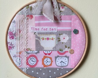 Handmade Patchwork Hoop - Time for Tea