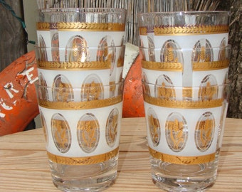 Wheat Design Gold and Frosted Glass Tumblers Set Bar Beverage Vintage