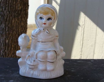 Vintage Porcelain Little Girl Sitting Glazed White with Gold Trim