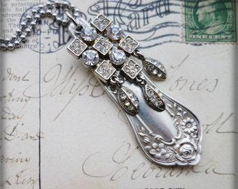 Vintage flatware spoon handle Necklace Rhinestones