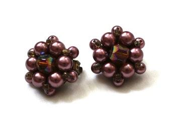 vintage earrings jewelry bead cluster purple brown aurora borealis 1950s clip ons