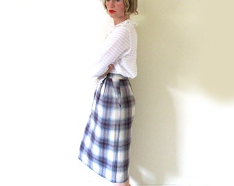 vintage skirt wool plaid 60s 70s high waisted pencil eggplant purple womens clothing size extra small xs
