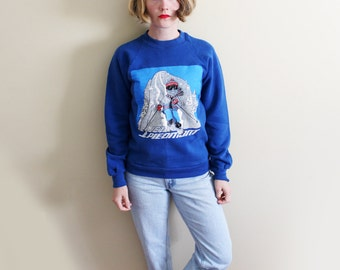 vintage sweatshirt 80s blue skier cartoon womens clothing blue novelty skier 1980s xs s extra small