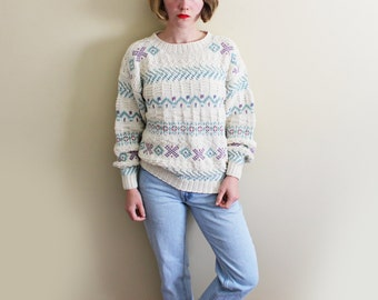 vintage sweater 90s clothing ll bean ivory oatmeal pastel chunky 1990s womens size small s