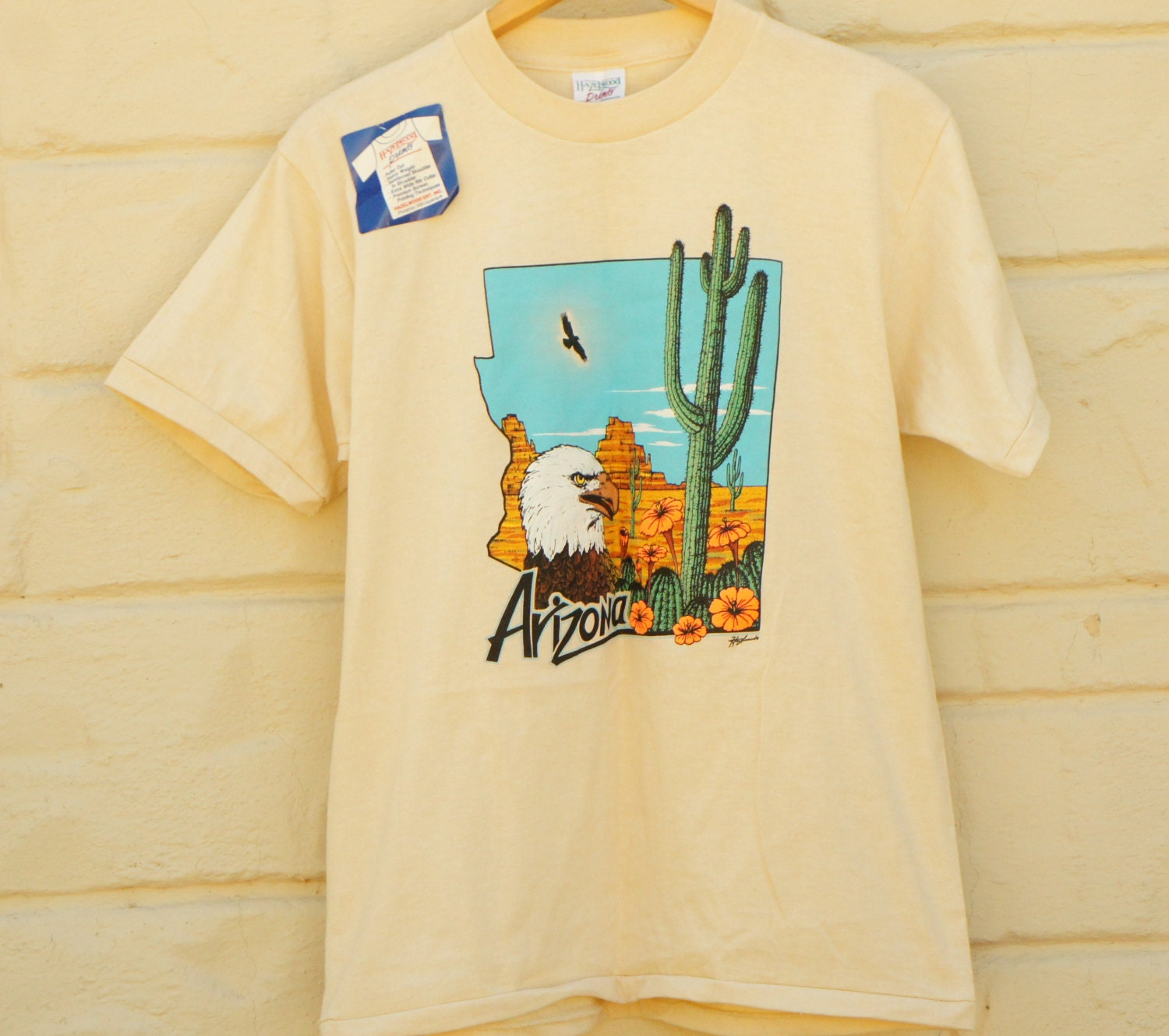 Vintage deadstock 80 39 s arizona eagle saguaro cactus for T shirt printing in palmdale ca