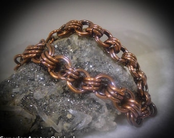 Men's Antique Copper Chain Bracelet size 7 1/2  Chain Maille