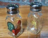 Rooster Salt and Pepper Shakers Painted Glass Farm Barnyard Salt & Pepper Shakers by Lisa Hayward