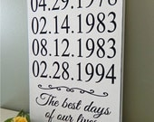 Custom Date Sign, engagement date, Family Date Sign, Anniversary Date, Birth Date Sign, Important Dates Sign, Special Dates Sign