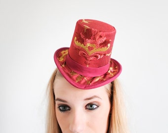 Red Mini Top Hat - Embroidered emblem front