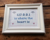 127.0.0.1 is where the heart is cross stitch sampler needlepoint PDF pattern