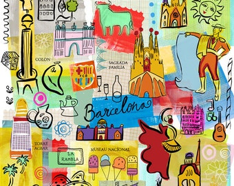 Barcelona illustration, modern, whimsical wall art, print, giclee, home decor. Bright colours by Farida Zaman  Ask a Question