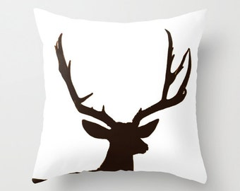 Deer Antler Pillow Cover, Throw Pillow, Rustic Home Decor, Cabin Decor