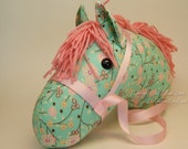 Stick Horse Head, Aqua with Pink cherry blossom Print and Light Dusty Pink Mane, MADE to ORDER, With or Without Stick