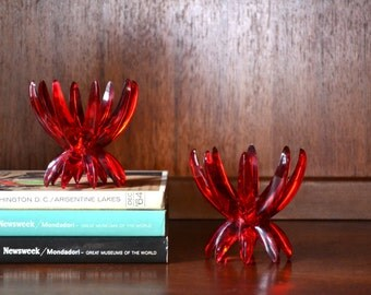 vintage west german red friedel lucite candle stick holders / valentines day decor / red valentine