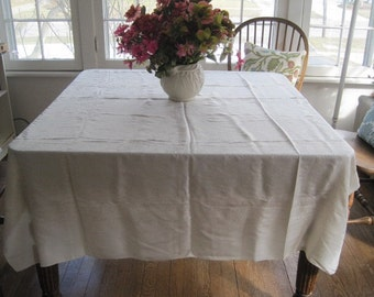 Vintage Silk Damask Tablecloth 54 Inches by 70 Inches