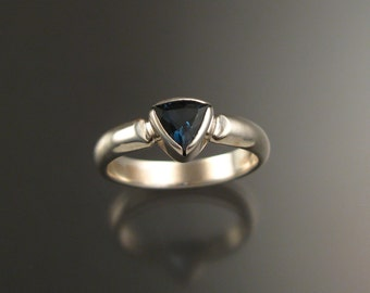 London Blue Topaz Triangle ring set in 14k white Gold