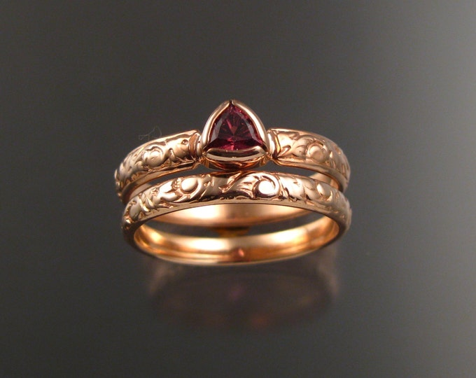 Pink Tourmaline Triangle Wedding set 14k Rose Gold Victorian bezel set stone two ring set made to order in your size