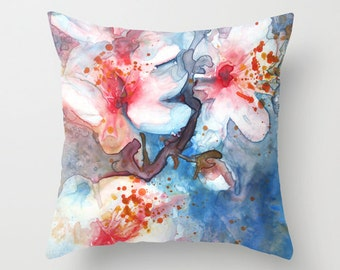 Cherry Blossom Flower Watercolor Throw Pillow Cover