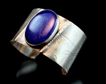 Unique Handmade Silver cuff bracelet, Silver Cuff,Silver Jewelry,Rustic Jewelry,Fold Formed ,Lapis Jewelry,Metalwork,Art Jewelry
