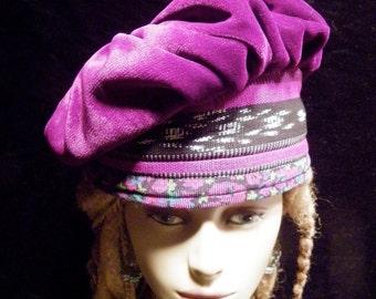 Hat Beret Magenta Red Violet Velvet Black White Gray Guatemalan Weaving Multicolor Floral Printed Corduroy Asymmetrical Beret Gypsy Boho