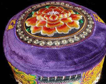 Gypsy World Peace Hat Vintage Purple Velvet Vintage Afghan Embroidery Beadwork Vintage Indian Embroidery Mirror Work Thai Embroidery Kufi