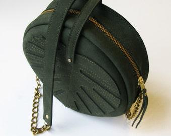 La Lisette Leather bag green circle bag womens Bag dark green Leather Purse monstera leaf