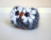 Wool Miniature Baby Owl, Knitted Plush Animal