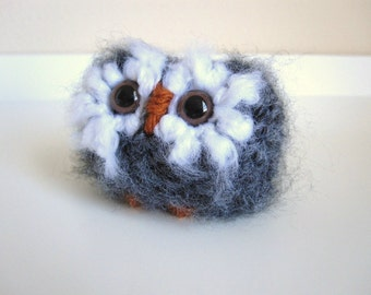 Wool Miniature Baby Owl, Knitted Plush Animal