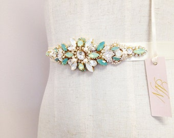 Swarovski Crystal Bridal Belt- Mint Crystal Bridal Sash- Mint Bridal Belt