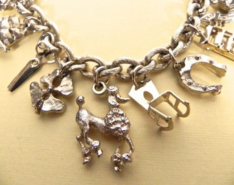 Vintage 1950s Charm Bracelet - 50s Bracelet with poodle ship scissors charms much more - on sale