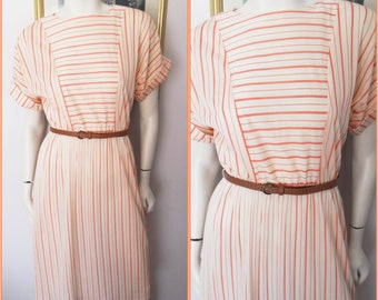 Vtg.80s Cream Red Striped Batwing Sleeve Belted Dress.S/M.Bust is Open.Waist 22-32