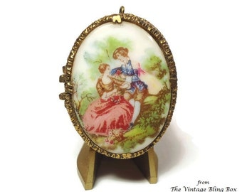60s Mary Chess Fragonard Porcelain Perfume Pendant with French Lovers Courtship Scene - Vintage 60's Marked Designer Perfume Collectibles