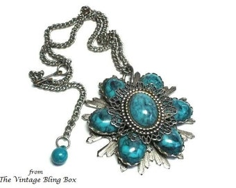 Large Turquoise Flower Pendant Vintage Necklace - Silver-tone - Plastic & Metal Filigree Design - South Western - 60's Costume Jewelry