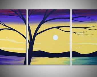 """triptych large wall art painting tree of life office abstract triptych oil landscape canvas art sculpture decorative artwork Modern 48 x 20"""""""