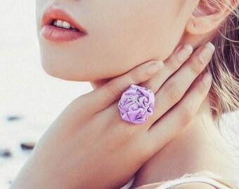 Lavender fabric rosette ring pastel Weddings Bridal Bridesmaids ring