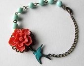 Coral cherry blossom sakura with teal bird mint beads necklace or bracelet  gift for wedding, bridemaids