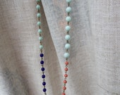 mint, coral, navy, big mint  beads long necklace mint, white, coral. light blue 28inch long