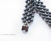 dark grey pearl cuff bracelet . swarovski pearl . grey . dark grey . bridesmaid bracelet . mother of the bride . mother of the groom