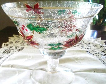 Vintage Poinsettia and Holly Christmas Compote