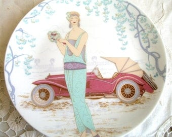 Vintage Ladies with Early Cars Set of 2 Collector Plates 7.25 inches in Diameter Collectible Plates 1975
