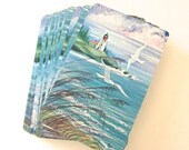 Illustrated Pinochle Playing Cards, Complete Vintage Deck with Lighthouse and Seagulls Illustration