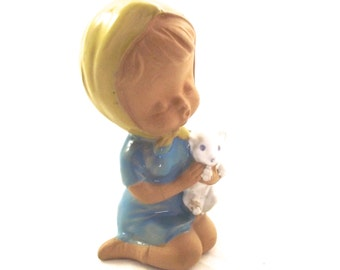 Girl and Cat Figurine, Vintage Clay Figure, Japanese