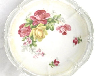 Ceramic Rose Bowl, Large Vintage Cottage Chic Style Bowl with Pink an dYellow Roses and Mint Green Border A1